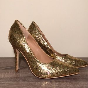 Shoedazzle gold glitter pumps NWOT size 7.5